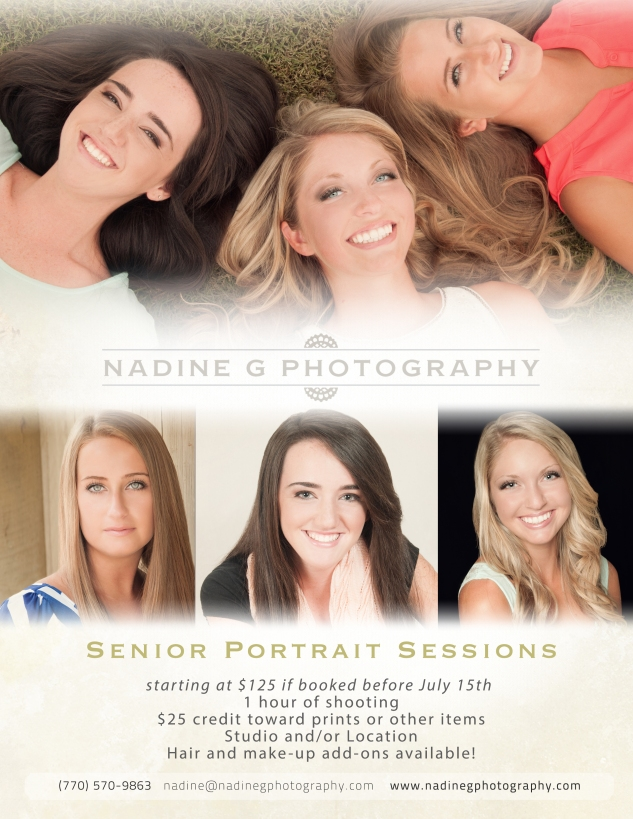 starting at $125 if booked before July 15th  1 hour of shooting $25 credit toward prints or other items Studio and/or Location Hair and make-up add-ons available!