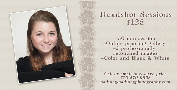 North Atlanta GA headshot special, headshot photographer,