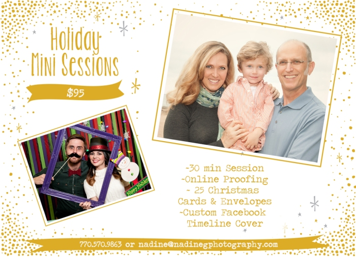 Buford, Duluth, Suwanee, Gainesville, Snellville, Lilburn GA holiday christmas mini sessions with holiday cards included