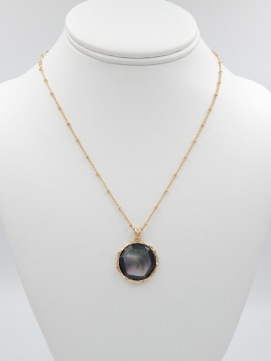 Mother of pear resin black pendant necklace from North Georgia Jewelry